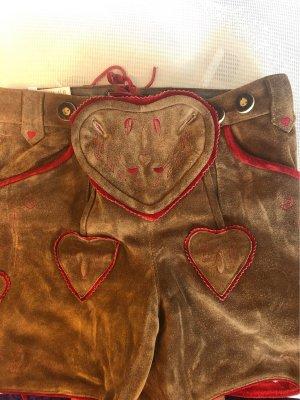 Pantalone in pelle tradizionale marrone-rosso scuro