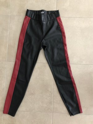 Zara Trafaluc Leather Trousers black-dark red