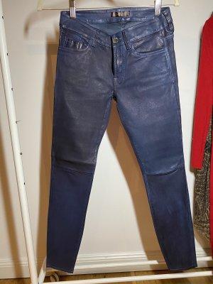 7 For All Mankind Skórzane spodnie ciemnoniebieski