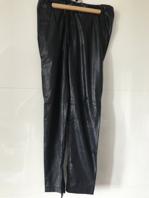 Cambio Faux Leather Trousers dark blue polyester