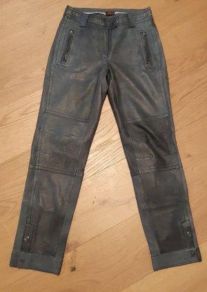 Danier Leather Trousers dark grey-anthracite