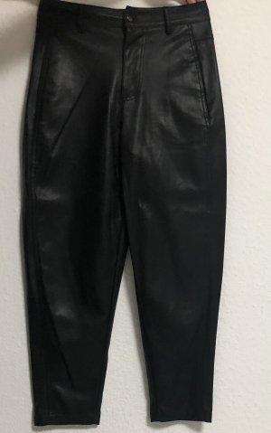 Zara Skórzane spodnie czarny