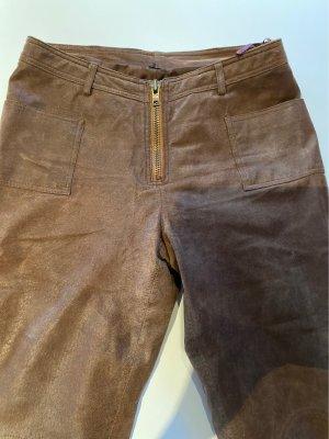 Emotion Skórzane spodnie jasnobrązowy