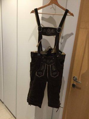 Paulano Pantalone in pelle tradizionale marrone-nero-marrone