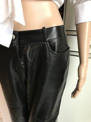 Celine Paris Pantalon en cuir noir cuir