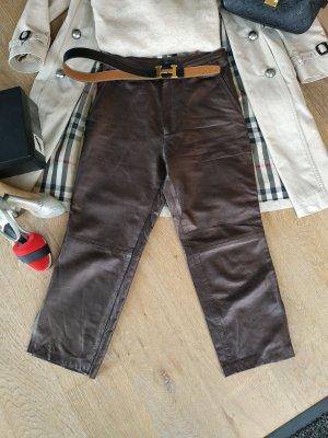 Passport Falda pantalón de pernera ancha color bronce Cuero
