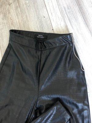Bershka Leather Trousers black