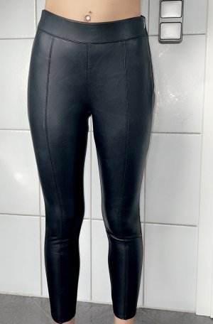 Topshop Pantalón de cuero negro