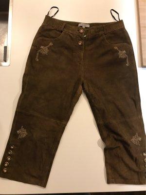 Pantalone in pelle tradizionale marrone scuro