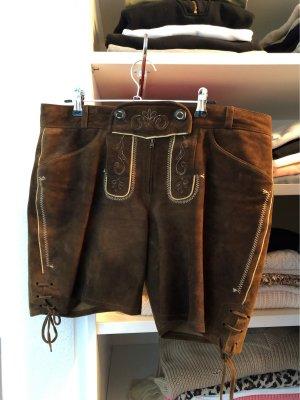 Spieth & Wensky Pantalone in pelle tradizionale crema-marrone scuro