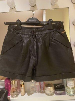 Patrizia Pepe Skórzane spodnie czarny