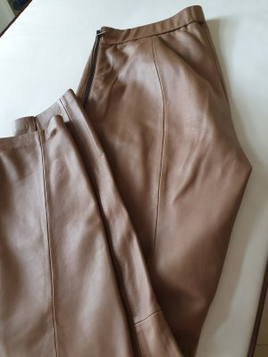 Oui Leather Trousers beige