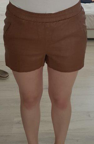 Vero Moda Pantalon en cuir brun