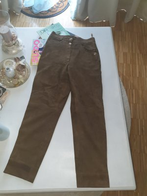 Pantalon en cuir gris brun-marron clair