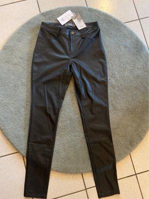 Ichi Pantalón de cuero negro