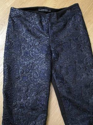 Zara Woman Pantalón de cuero negro-azul oscuro