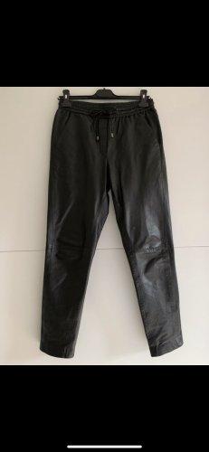 Mango Leather Trousers black