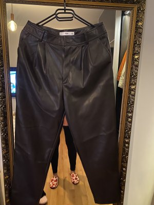 Mango Leather Trousers dark brown-black brown