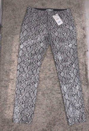 Zara Skórzane spodnie jasnoszary-srebrny