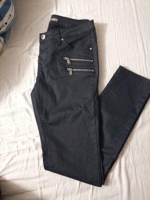 Orsay Pantalón de cuero negro-gris antracita