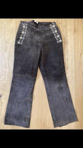 Promod Pantalone in pelle marrone scuro
