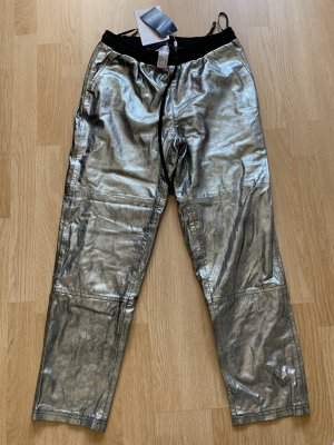Heine Pantalón de cuero color plata-gris claro