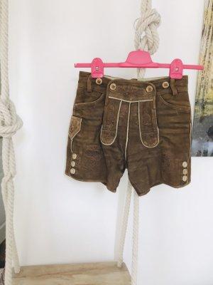 Pantalone in pelle tradizionale marrone-marrone chiaro