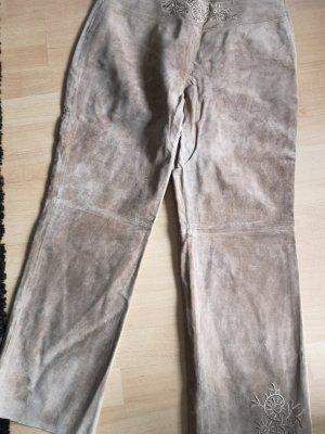 Pantalón de cuero beige