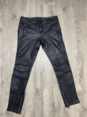 All Saints Pantalón de cuero negro Cuero