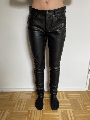 Esqualo Pantalon en cuir noir