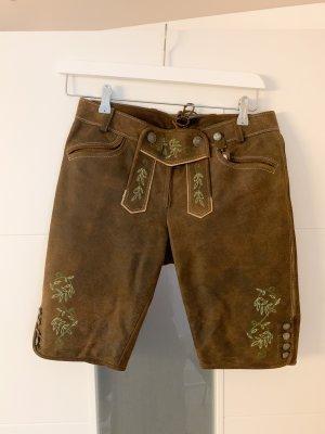 Spieth & Wensky Pantalone in pelle tradizionale marrone-marrone scuro
