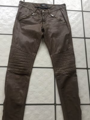 Tigha Skórzane spodnie beżowy Skóra