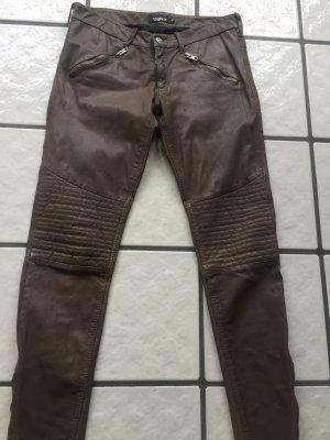 Tigha Pantalón de cuero beige Cuero