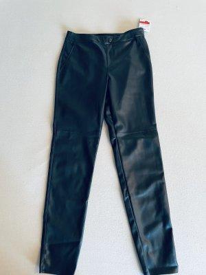 Yessica Skórzane spodnie ciemnozielony-czarny