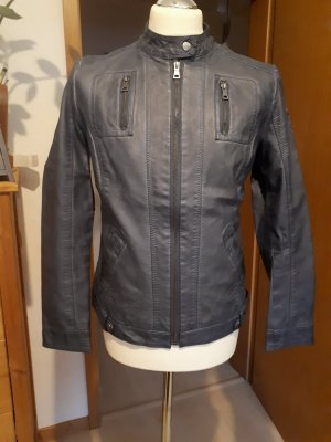 John Baner Veste motard gris ardoise faux cuir