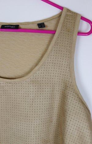 Top Shirt Woman by Tchibo Größe L 40 42 Beige Nude Hellbraun Materialmix Lochprint Mesh Western