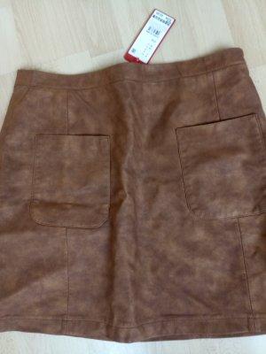 1 NY tee Falda de cuero de imitación marrón claro Viscosa