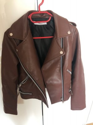 Mango Leather Jacket cognac-coloured-brown