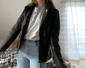 Mustang Manteau en cuir noir-gris