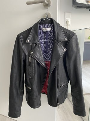 Current Air Leather Jacket black-silver-colored