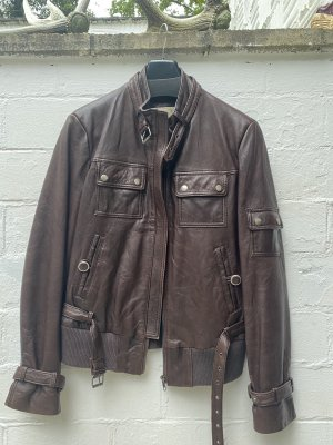 Geelong Bomber Jacket brown red leather