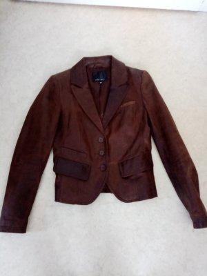Amisu Chaqueta de cuero marrón