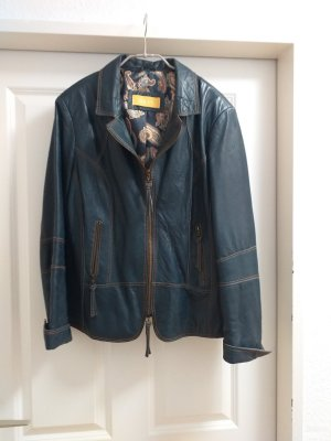 Biba Leather Jacket slate-gray-dark blue