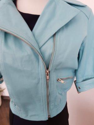 Alba Moda Skórzana kurtka jasnoniebieski-błękitny