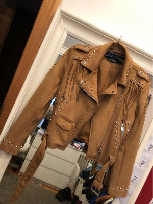 Zara Basic Leather Jacket brown-silver-colored