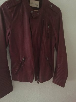 Brandalism Leather Jacket neon red-dark red leather
