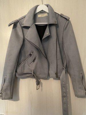 Zara Skórzana kurtka jasnoniebieski