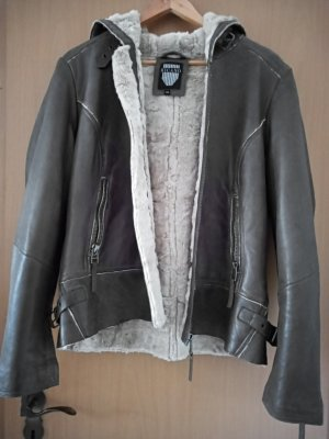 Ricano Leather Jacket grey brown leather