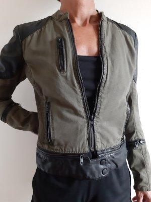 Tigha Leather Jacket black-green grey