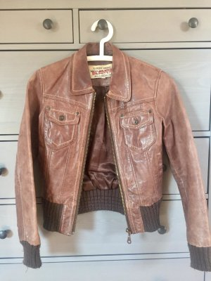 Blend Leather Jacket brown leather
